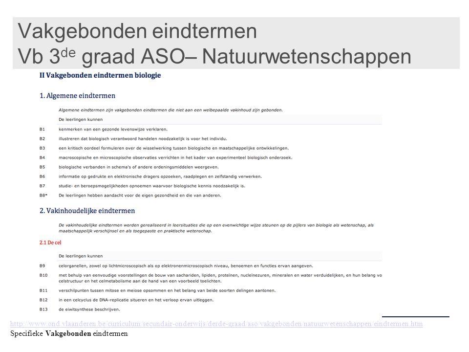 Vakgebonden eindtermen Vb 3de graad ASO– Natuurwetenschappen