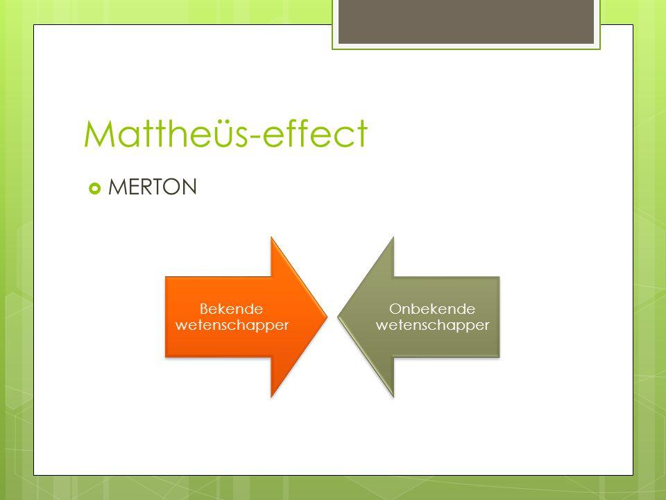 Mattheüs-effect MERTON Bekende wetenschapper Onbekende wetenschapper