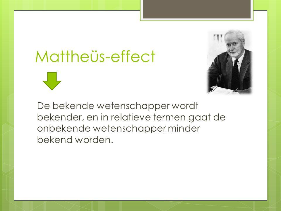 Mattheüs-effect De bekende wetenschapper wordt bekender, en in relatieve termen gaat de onbekende wetenschapper minder bekend worden.