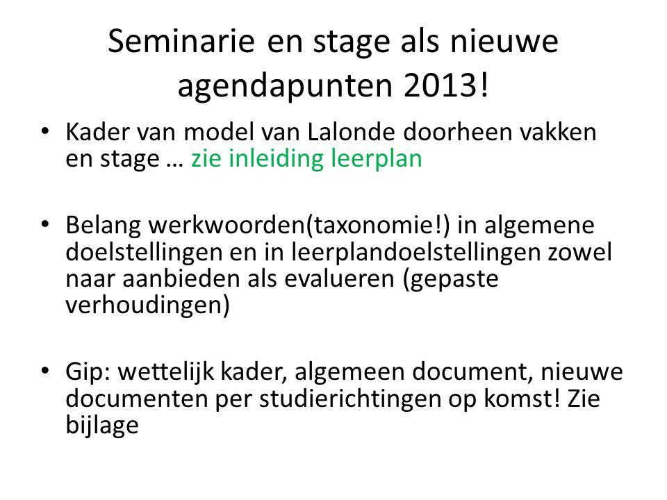 Seminarie en stage als nieuwe agendapunten 2013!