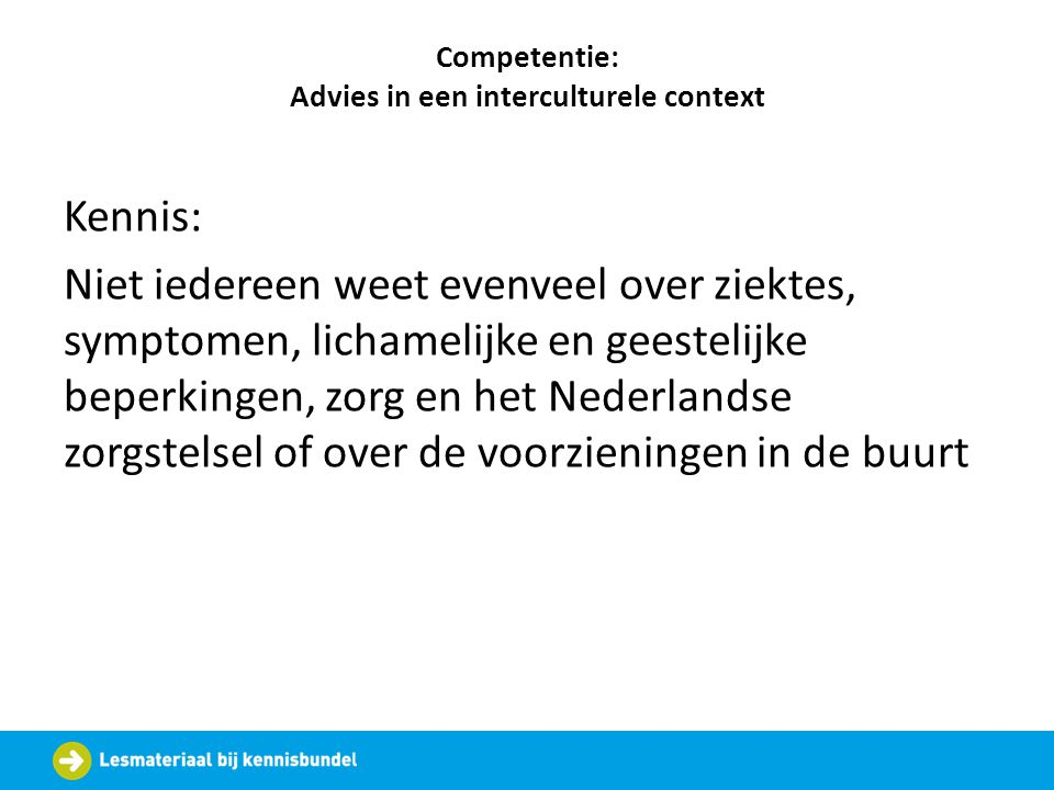 Competentie: Advies in een interculturele context