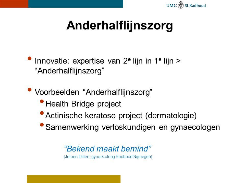 Anderhalflijnszorg Innovatie: expertise van 2e lijn in 1e lijn > Anderhalflijnszorg Voorbeelden Anderhalflijnszorg
