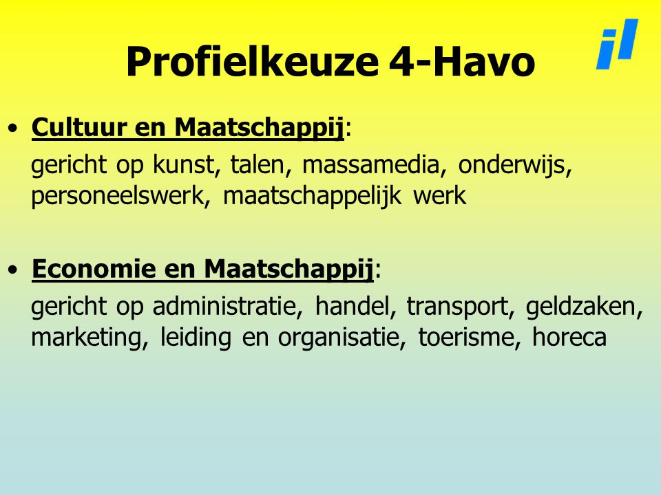 Profielkeuze 4-Havo Cultuur en Maatschappij:
