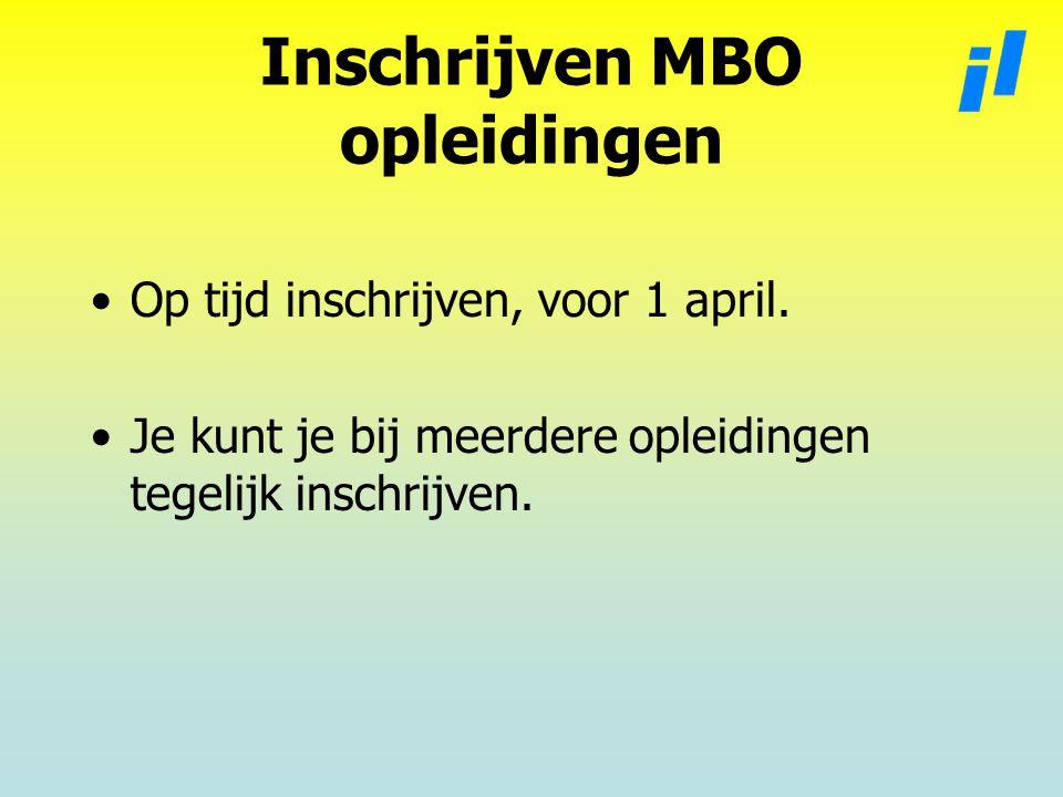 Inschrijven MBO opleidingen