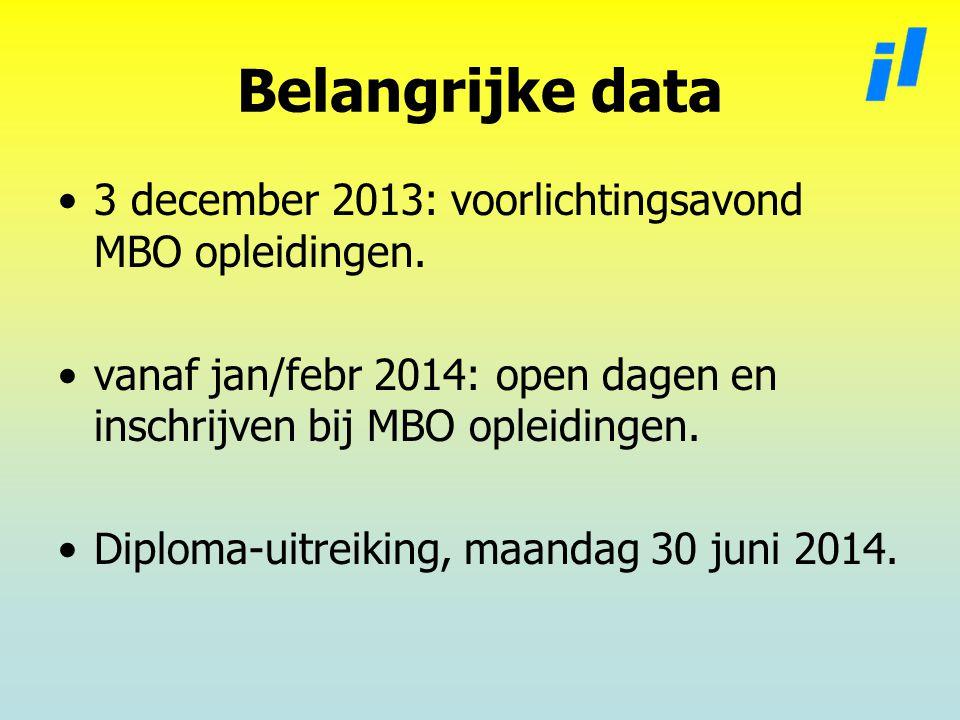 Belangrijke data 3 december 2013: voorlichtingsavond MBO opleidingen.