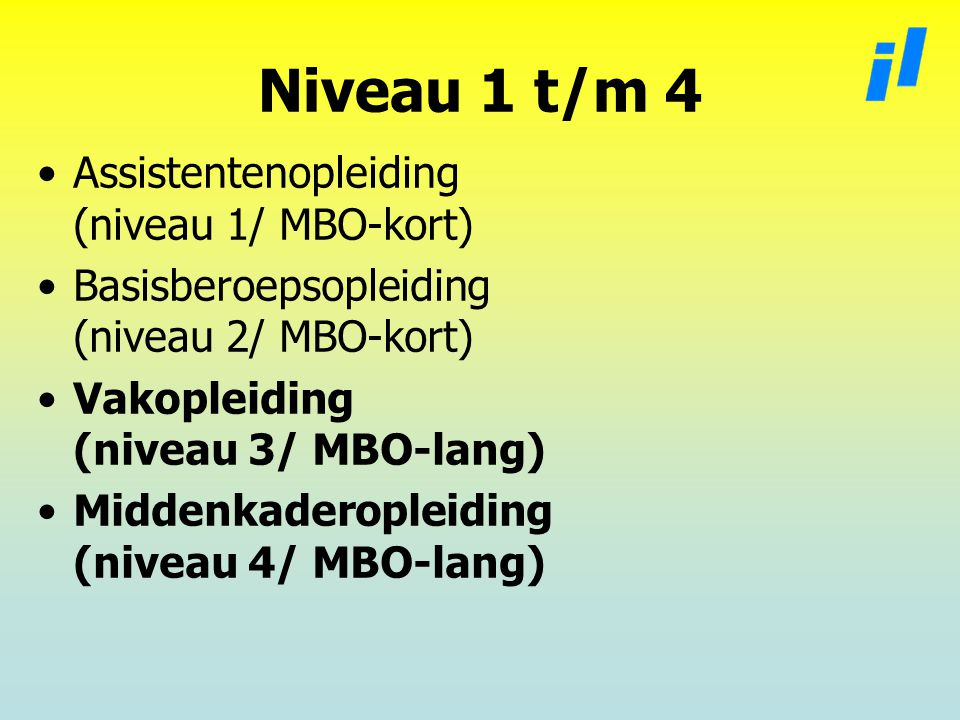Niveau 1 t/m 4 Assistentenopleiding (niveau 1/ MBO-kort)