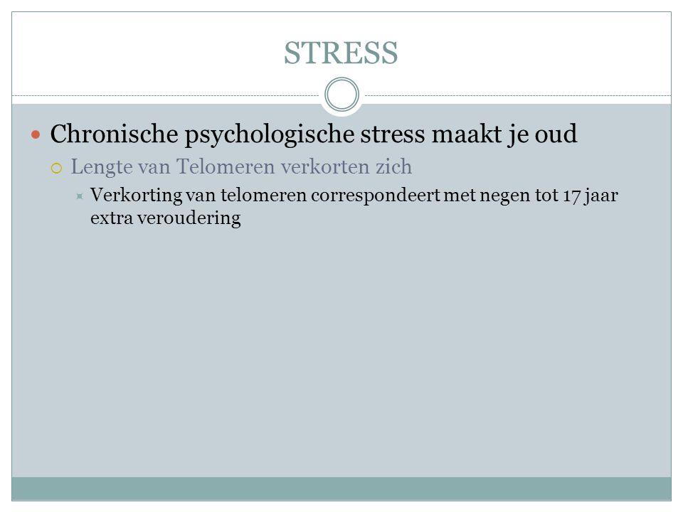 STRESS Chronische psychologische stress maakt je oud