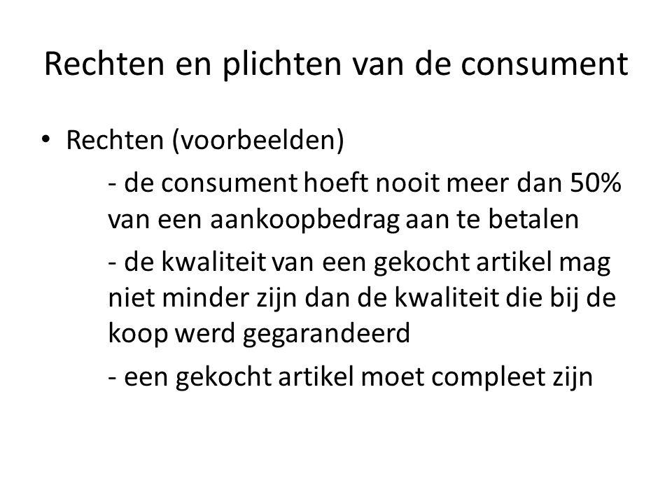 Rechten en plichten van de consument