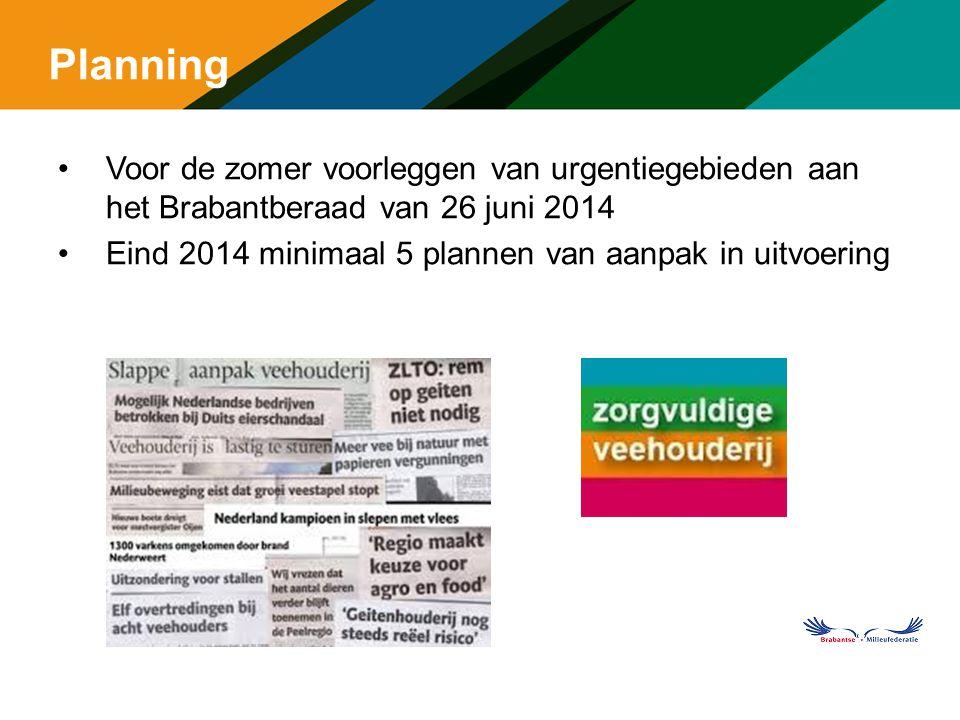 Planning Voor de zomer voorleggen van urgentiegebieden aan het Brabantberaad van 26 juni 2014. Eind 2014 minimaal 5 plannen van aanpak in uitvoering.