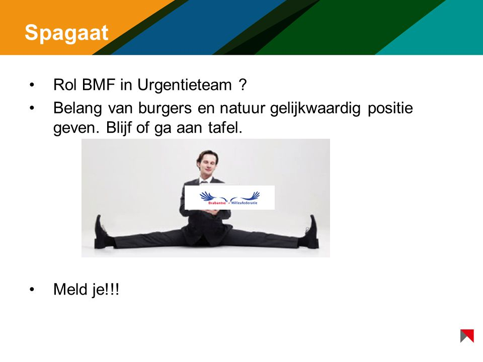 Spagaat Rol BMF in Urgentieteam