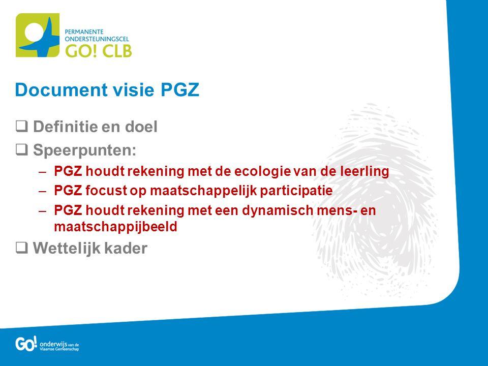 Document visie PGZ Definitie en doel Speerpunten: Wettelijk kader