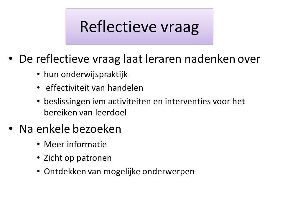 Reflectieve vraag De reflectieve vraag laat leraren nadenken over