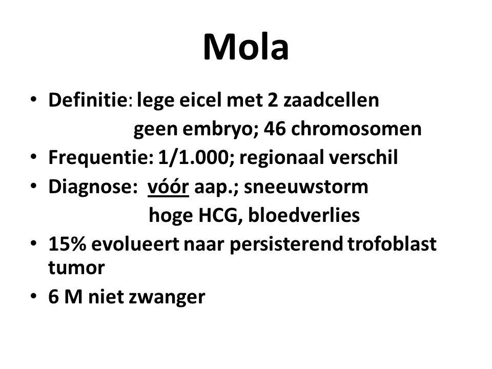 Mola Definitie: lege eicel met 2 zaadcellen