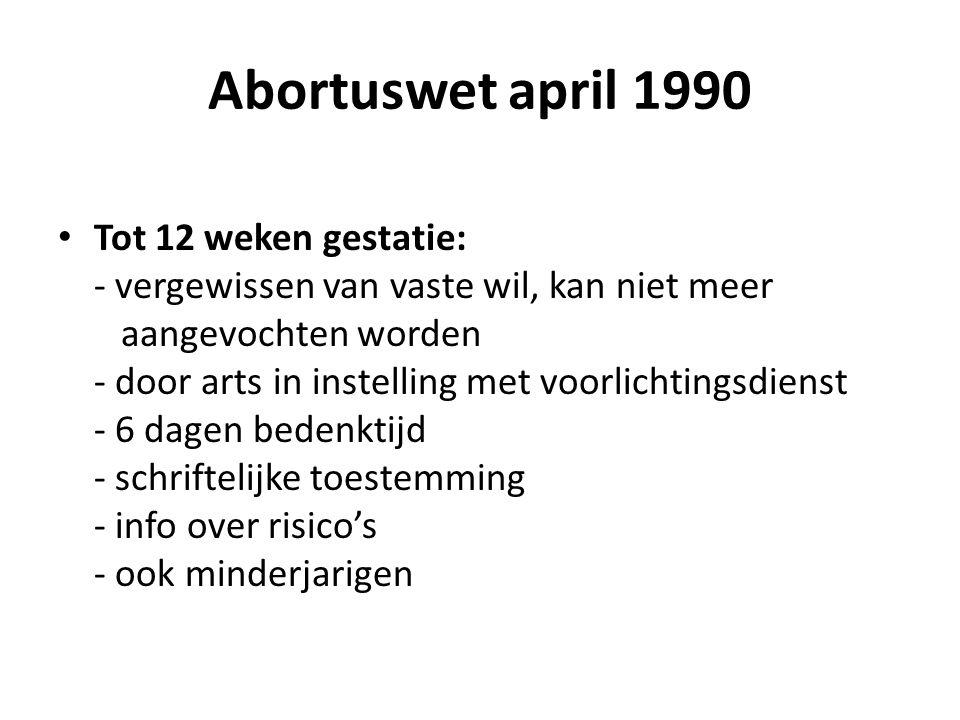 Abortuswet april 1990 Tot 12 weken gestatie: