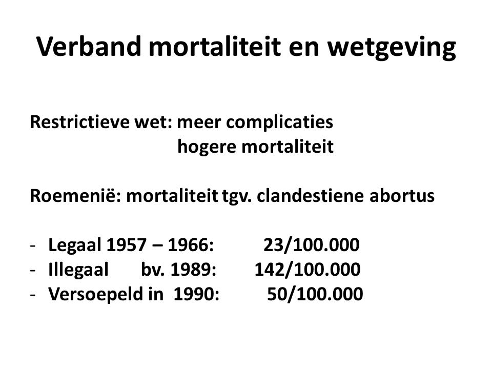 Verband mortaliteit en wetgeving