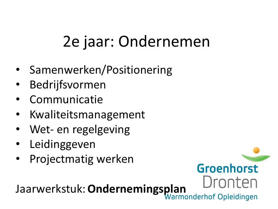 2e jaar: Ondernemen Samenwerken/Positionering Bedrijfsvormen