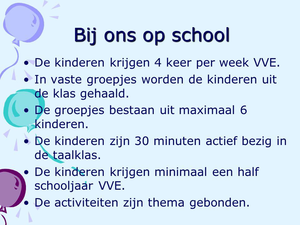 Bij ons op school De kinderen krijgen 4 keer per week VVE.