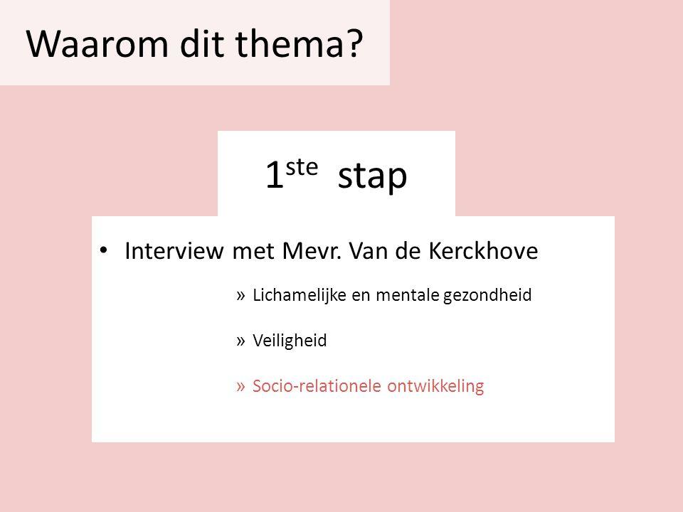 Waarom dit thema 1ste stap Interview met Mevr. Van de Kerckhove