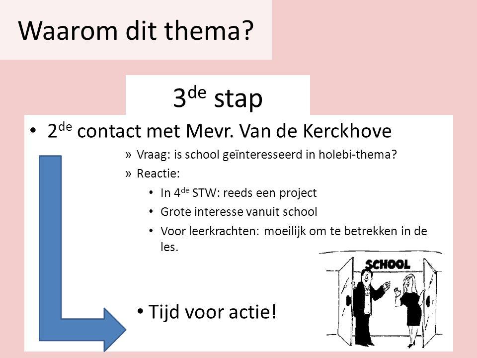 Waarom dit thema 3de stap 2de contact met Mevr. Van de Kerckhove