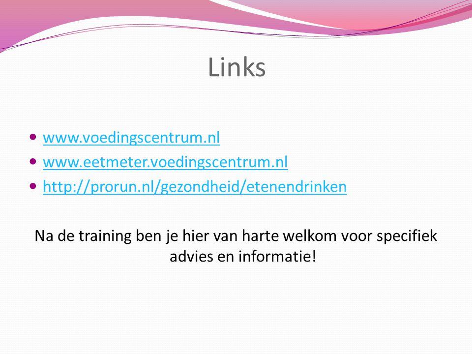Links www.voedingscentrum.nl www.eetmeter.voedingscentrum.nl
