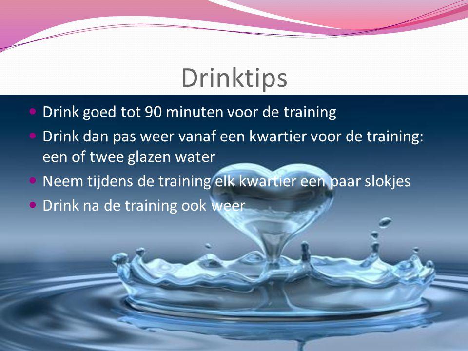 Drinktips Drink goed tot 90 minuten voor de training