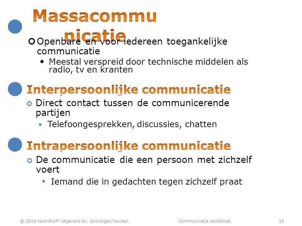 Massacommunicatie Interpersoonlijke communicatie