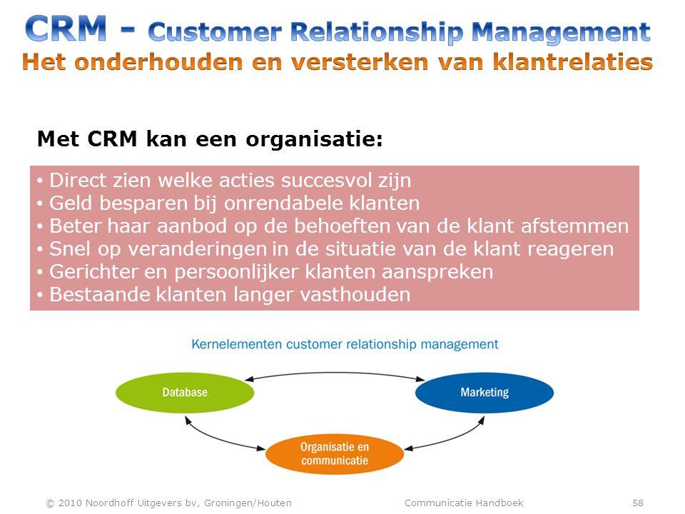 CRM - Customer Relationship Management Het onderhouden en versterken van klantrelaties