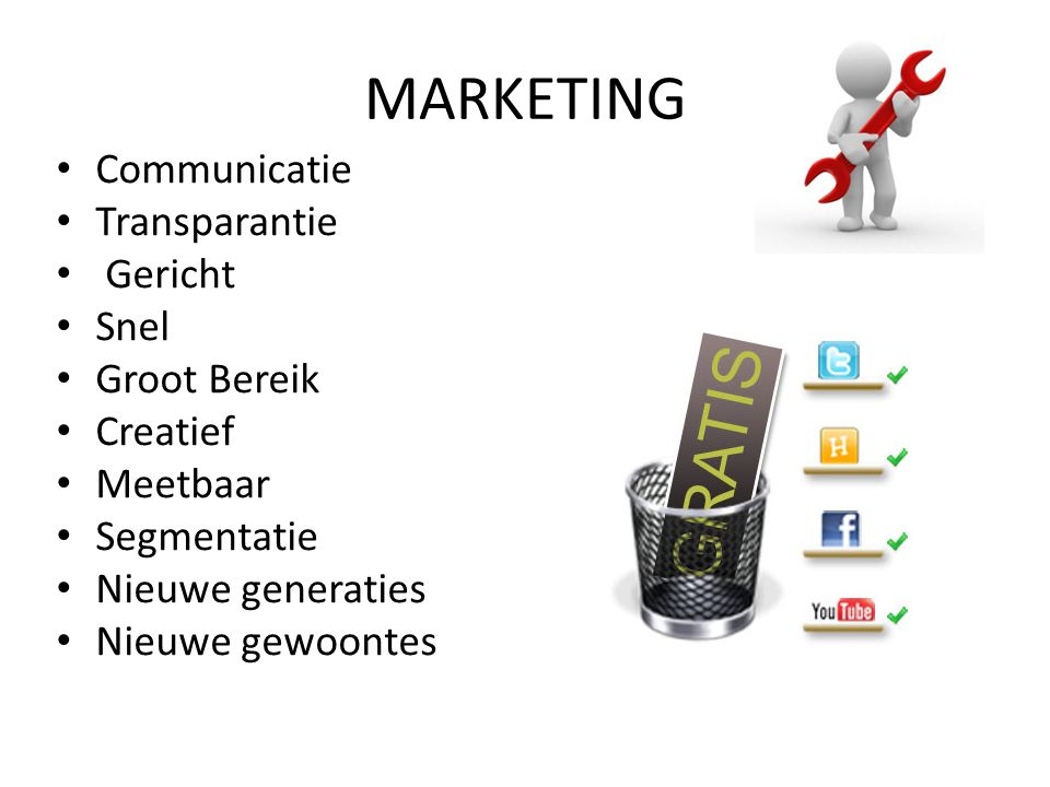 MARKETING Communicatie Transparantie Gericht Snel Groot Bereik