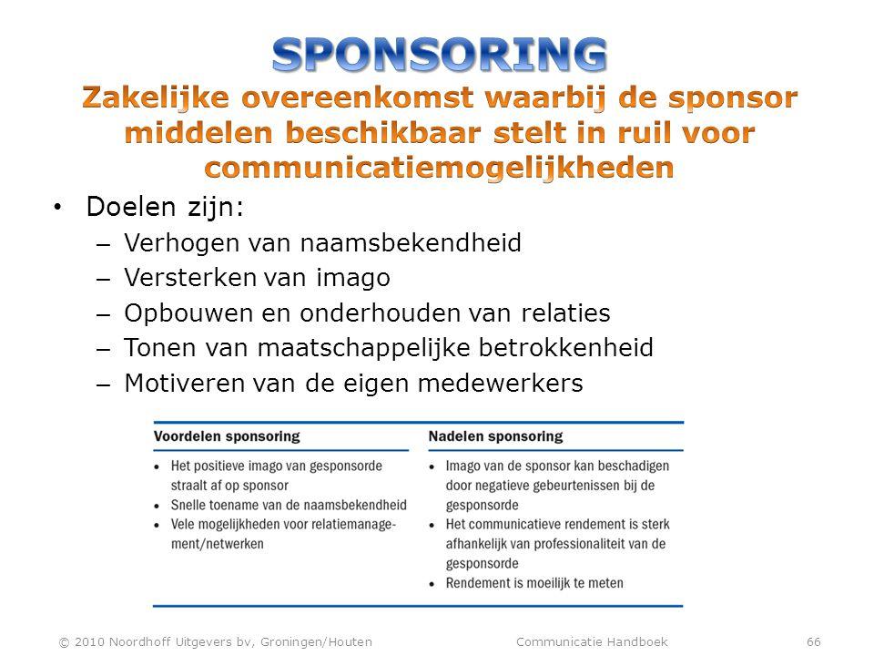 Sponsoring Zakelijke overeenkomst waarbij de sponsor middelen beschikbaar stelt in ruil voor communicatiemogelijkheden