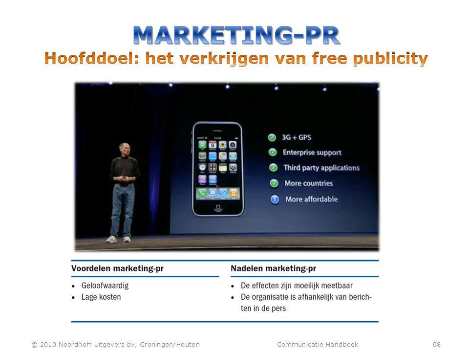 Marketing-pr Hoofddoel: het verkrijgen van free publicity