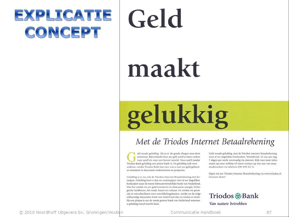 EXPLICATIE CONCEPT © 2010 Noordhoff Uitgevers bv, Groningen/Houten Communicatie Handboek 87