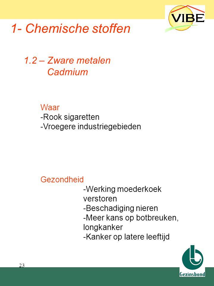 1.2 Zware metalen 1- Chemische stoffen 1.2 – Zware metalen Cadmium