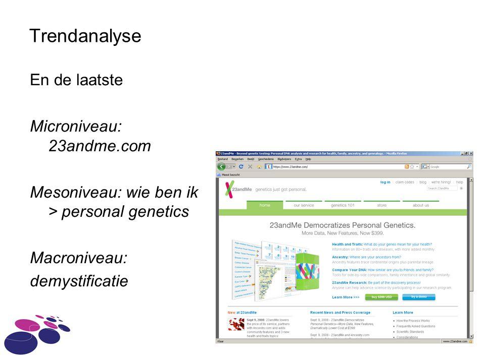 Trendanalyse En de laatste Microniveau: 23andme.com