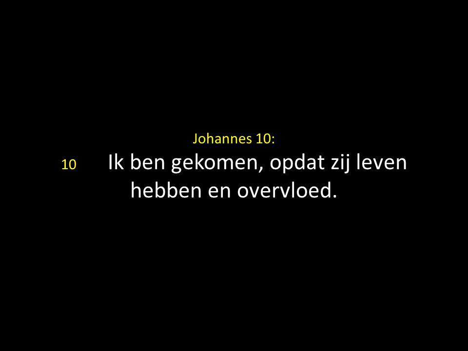 Johannes 10: 10 Ik ben gekomen, opdat zij leven hebben en overvloed.