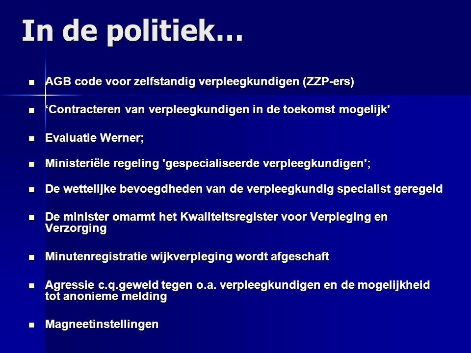 In de politiek… AGB code voor zelfstandig verpleegkundigen (ZZP-ers)