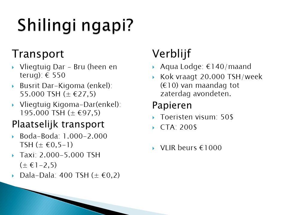 Shilingi ngapi Transport Verblijf Papieren Plaatselijk transport