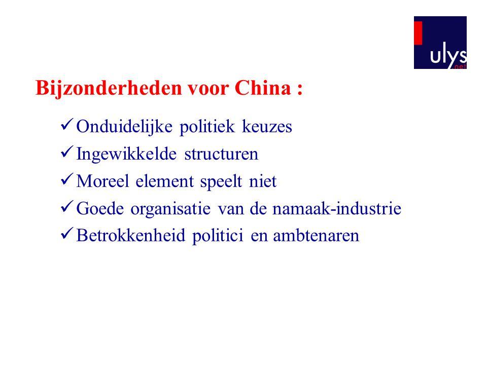 Bijzonderheden voor China :