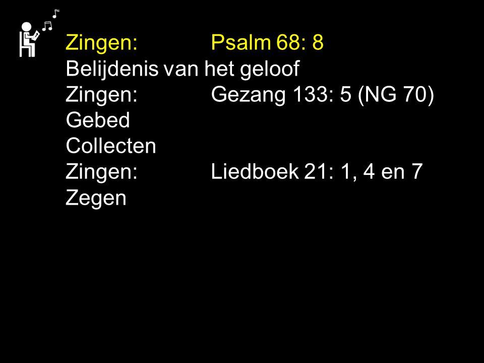 Zingen:. Psalm 68: 8 Belijdenis van het geloof Zingen: