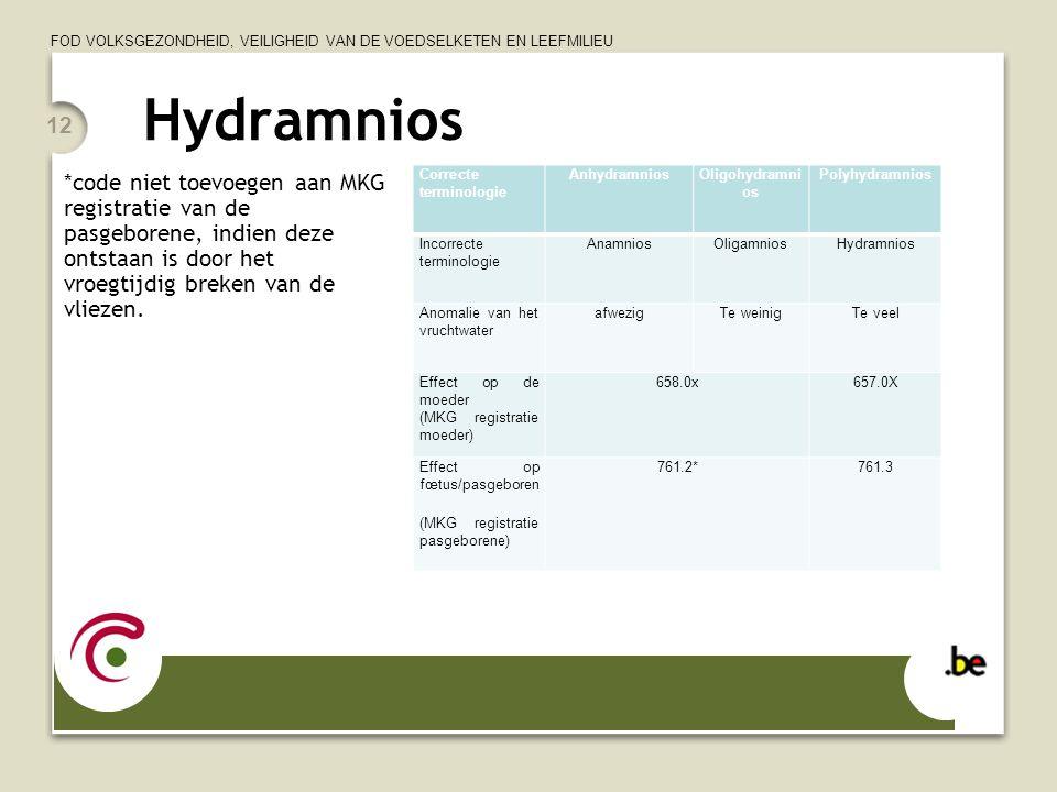Hydramnios *code niet toevoegen aan MKG registratie van de pasgeborene, indien deze ontstaan is door het vroegtijdig breken van de vliezen.