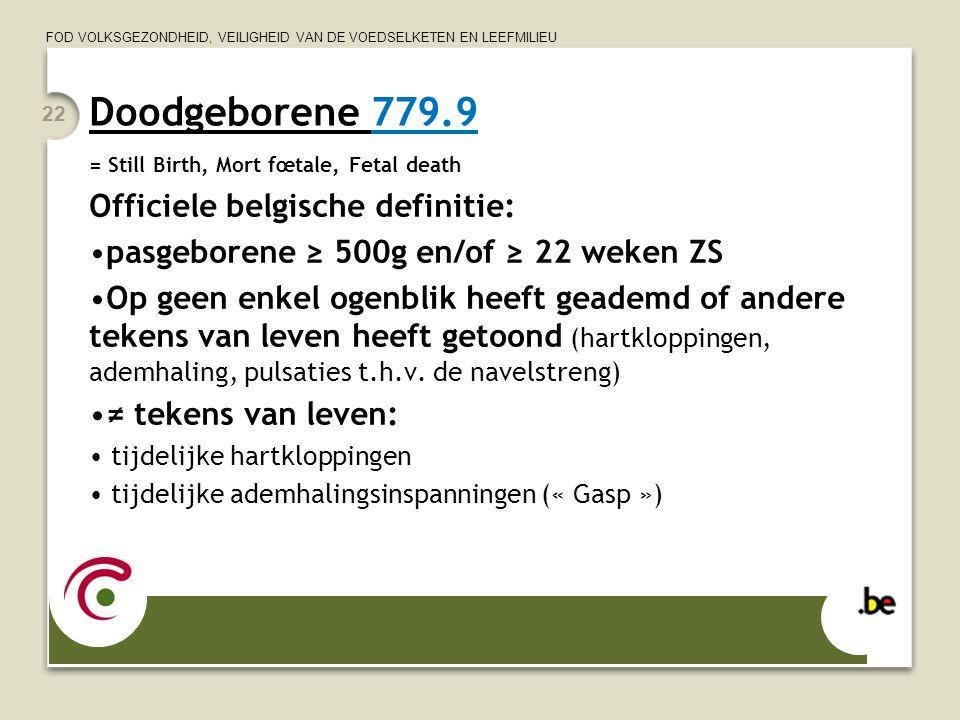 Doodgeborene 779.9 Officiele belgische definitie: