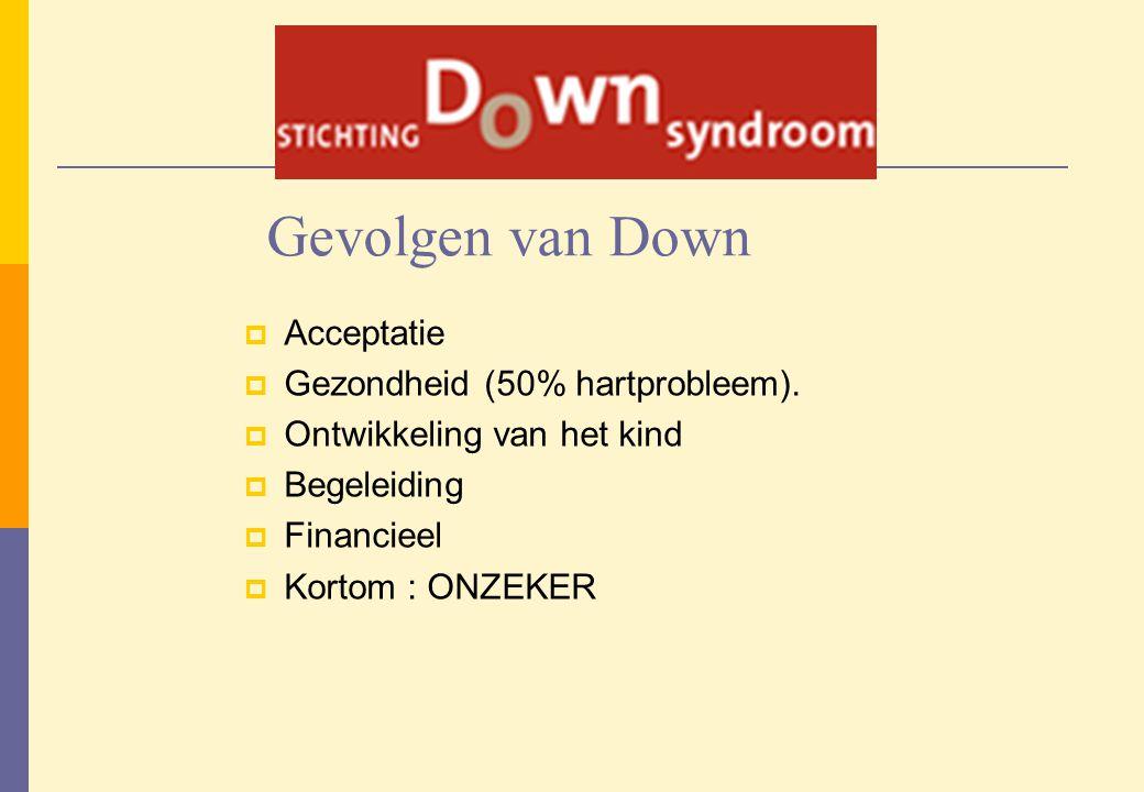 Gevolgen van Down Acceptatie Gezondheid (50% hartprobleem).
