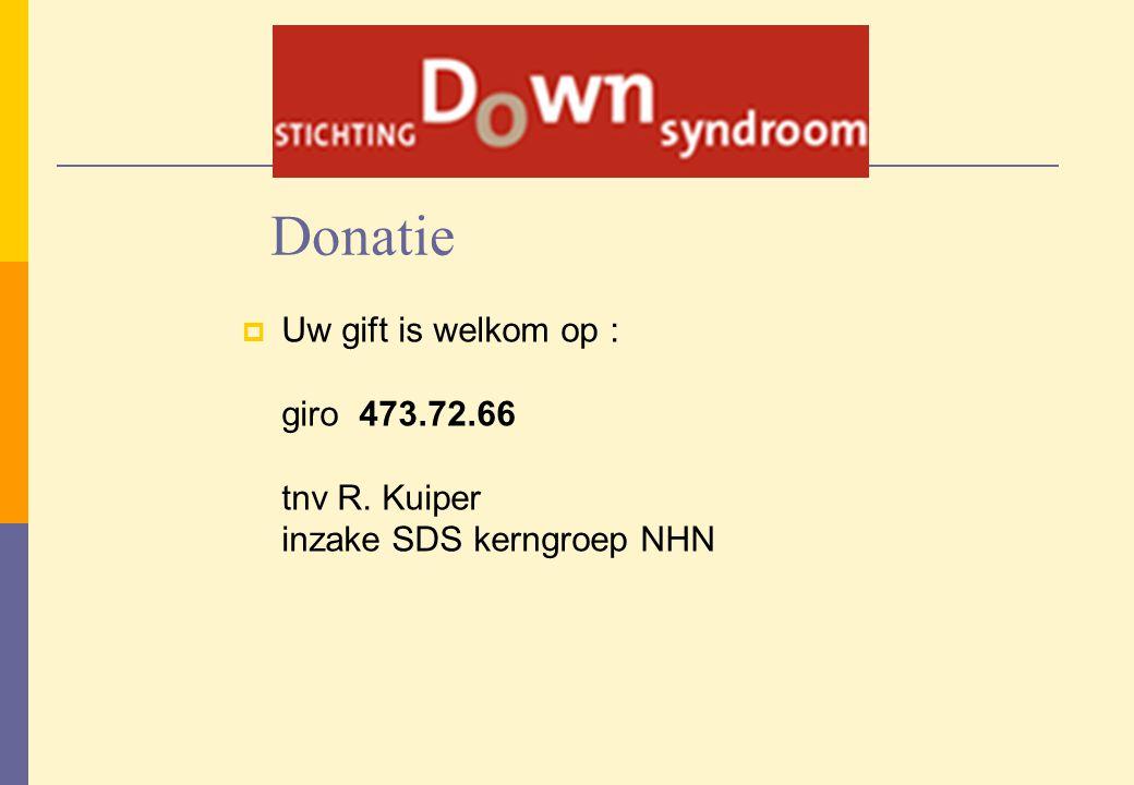 Donatie Uw gift is welkom op : giro 473.72.66 tnv R. Kuiper inzake SDS kerngroep NHN