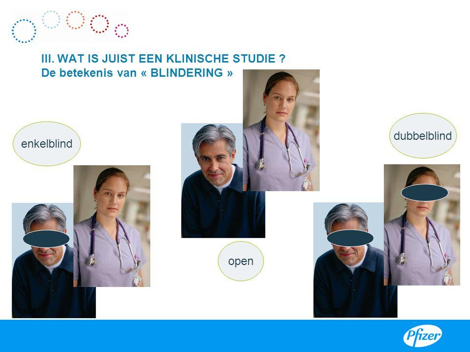 III III. WAT IS JUIST EEN KLINISCHE STUDIE De betekenis van « BLINDERING » dubbelblind. enkelblind.