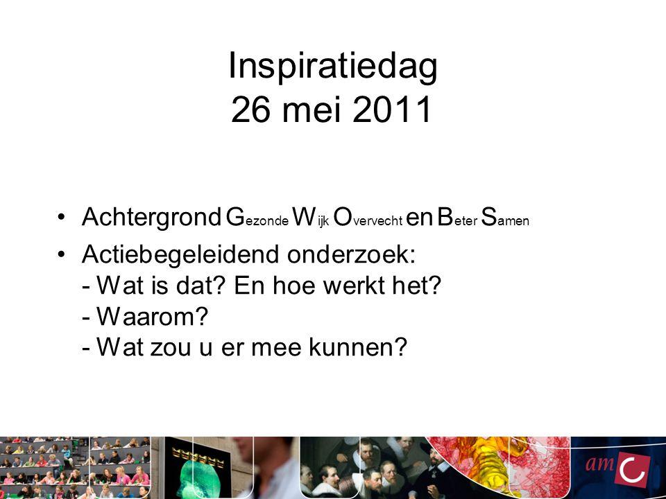 Inspiratiedag 26 mei 2011 Achtergrond Gezonde Wijk Overvecht en Beter Samen.