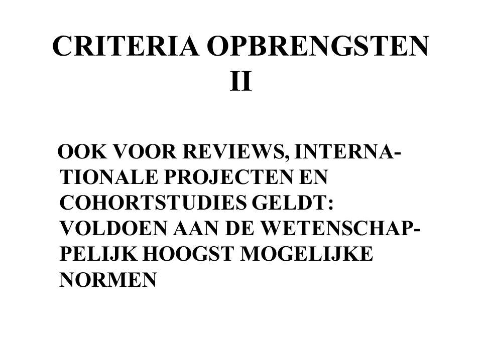 CRITERIA OPBRENGSTEN II