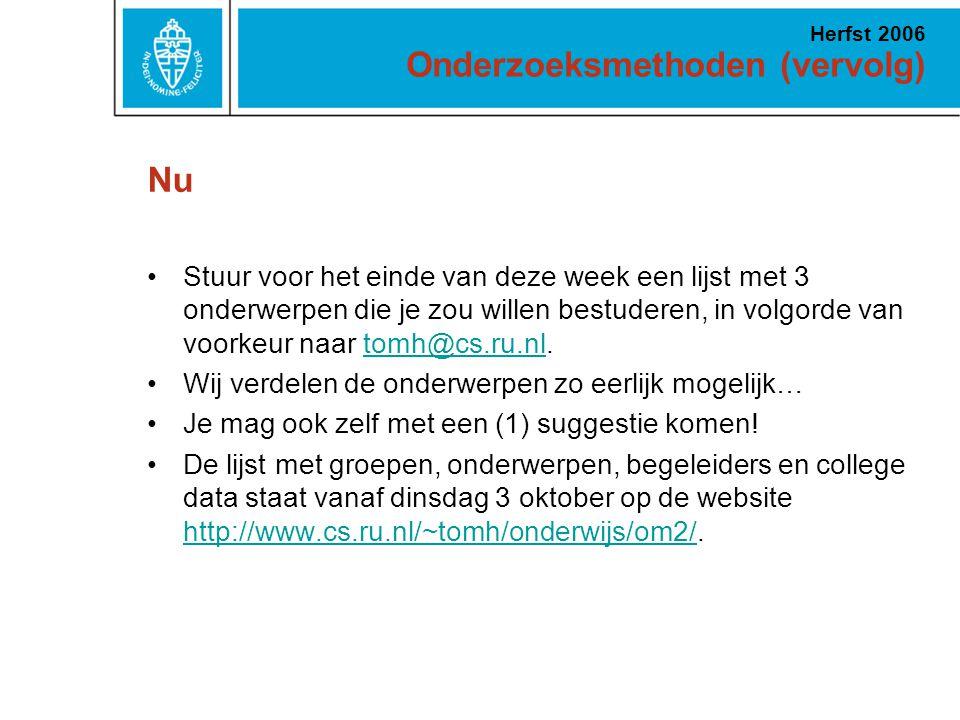 Nu Stuur voor het einde van deze week een lijst met 3 onderwerpen die je zou willen bestuderen, in volgorde van voorkeur naar tomh@cs.ru.nl.