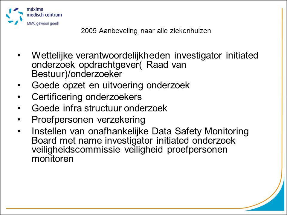 2009 Aanbeveling naar alle ziekenhuizen