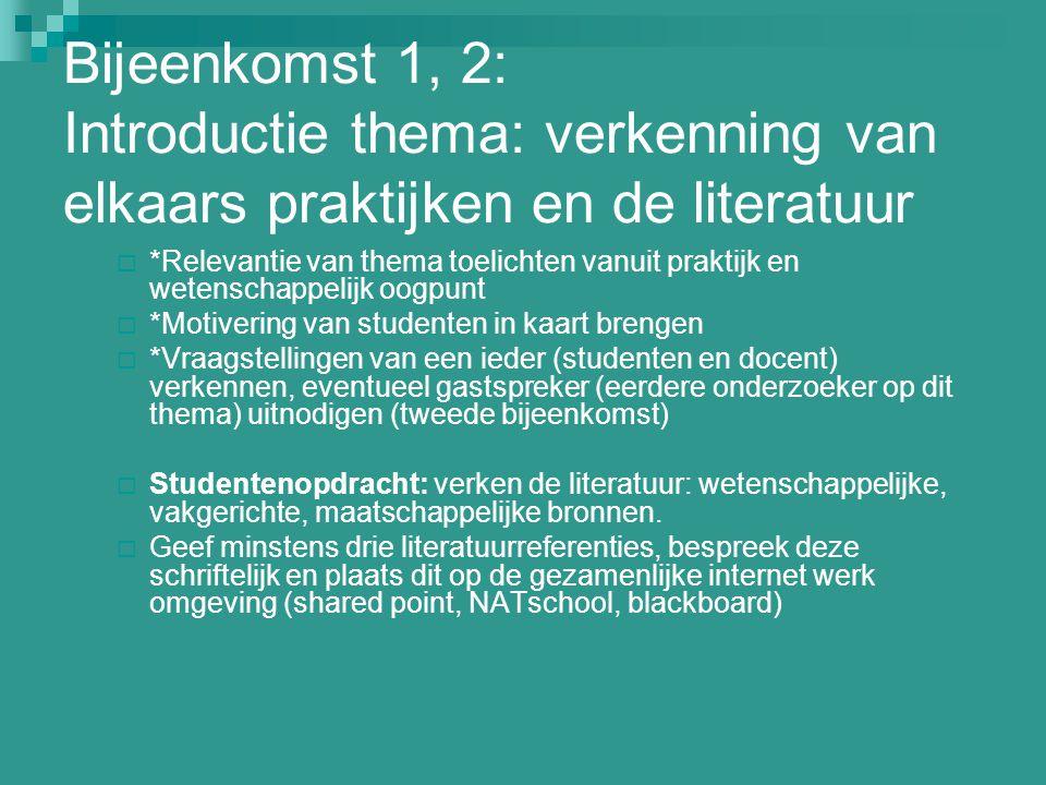 Bijeenkomst 1, 2: Introductie thema: verkenning van elkaars praktijken en de literatuur