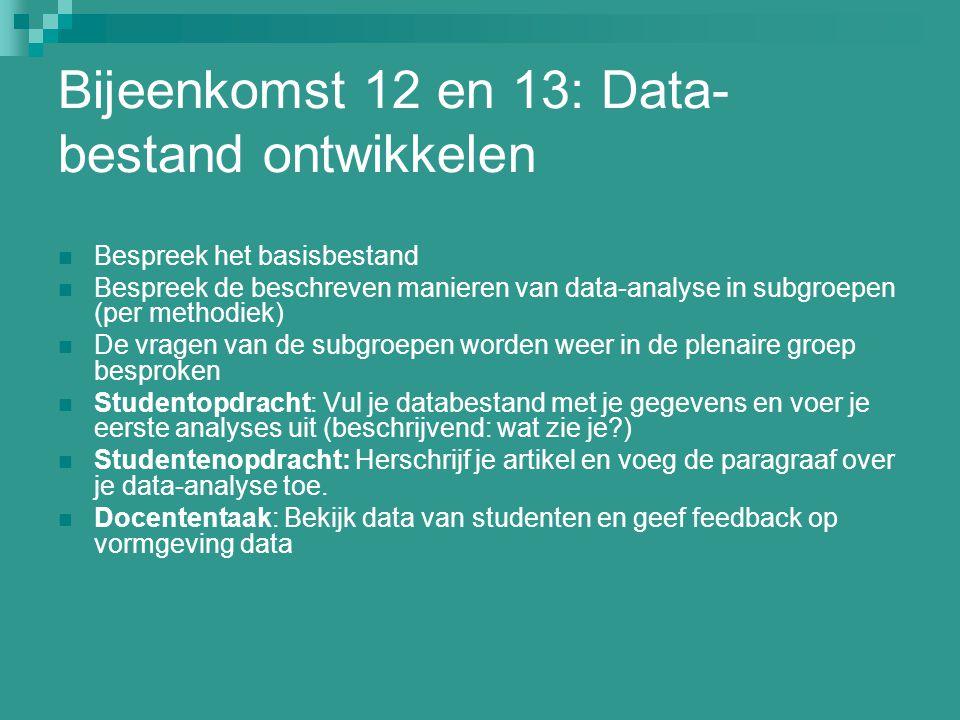 Bijeenkomst 12 en 13: Data-bestand ontwikkelen