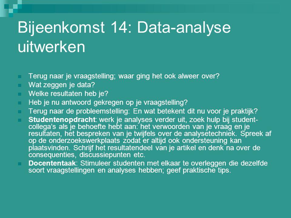 Bijeenkomst 14: Data-analyse uitwerken